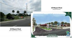 Existing and proposed entrance to 201 Mayport Property