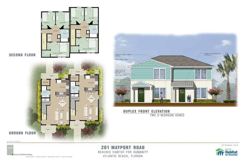 Plan and elevation drawings of proposed duplex