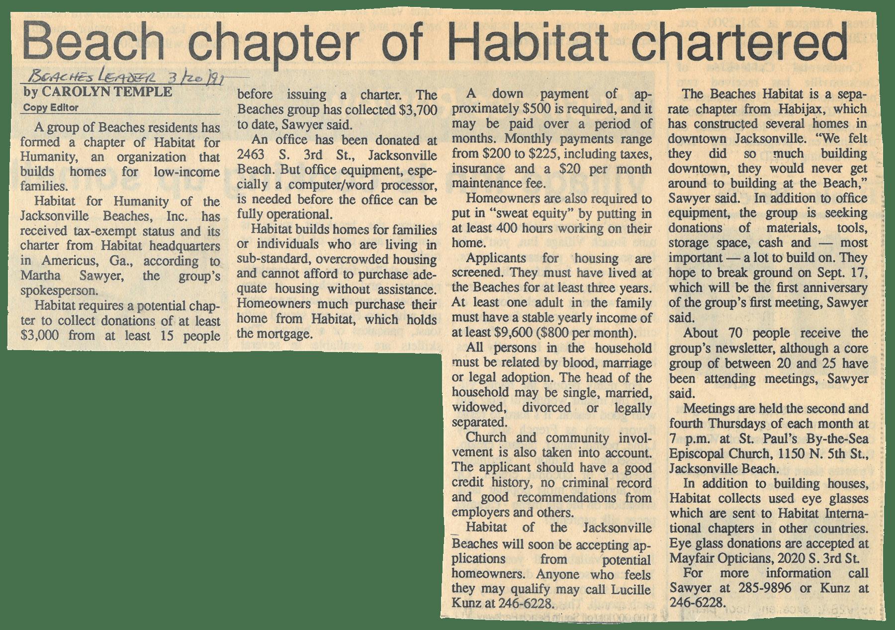 Beach chapter of Habitat chartered