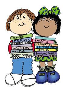 Cartoon of two children carrying books