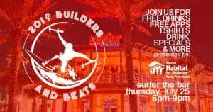 Builders and Beats logo over image of Surfer