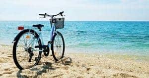 Cruiser bike on sunny beach