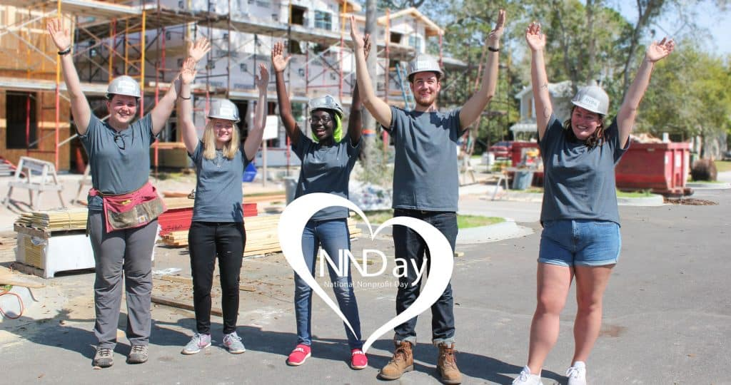 National Nonprofit Day logo over photo of 5 volunteers with their hands in the air