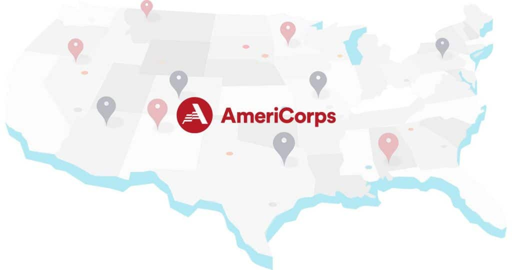 AmeriCorps logo over map of US