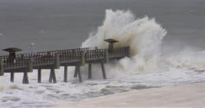 Hurricane Irma hitting the Jacksonville BeachPier