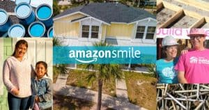 Amazon Smile logo over photo collage of homes, volunteers and building materials