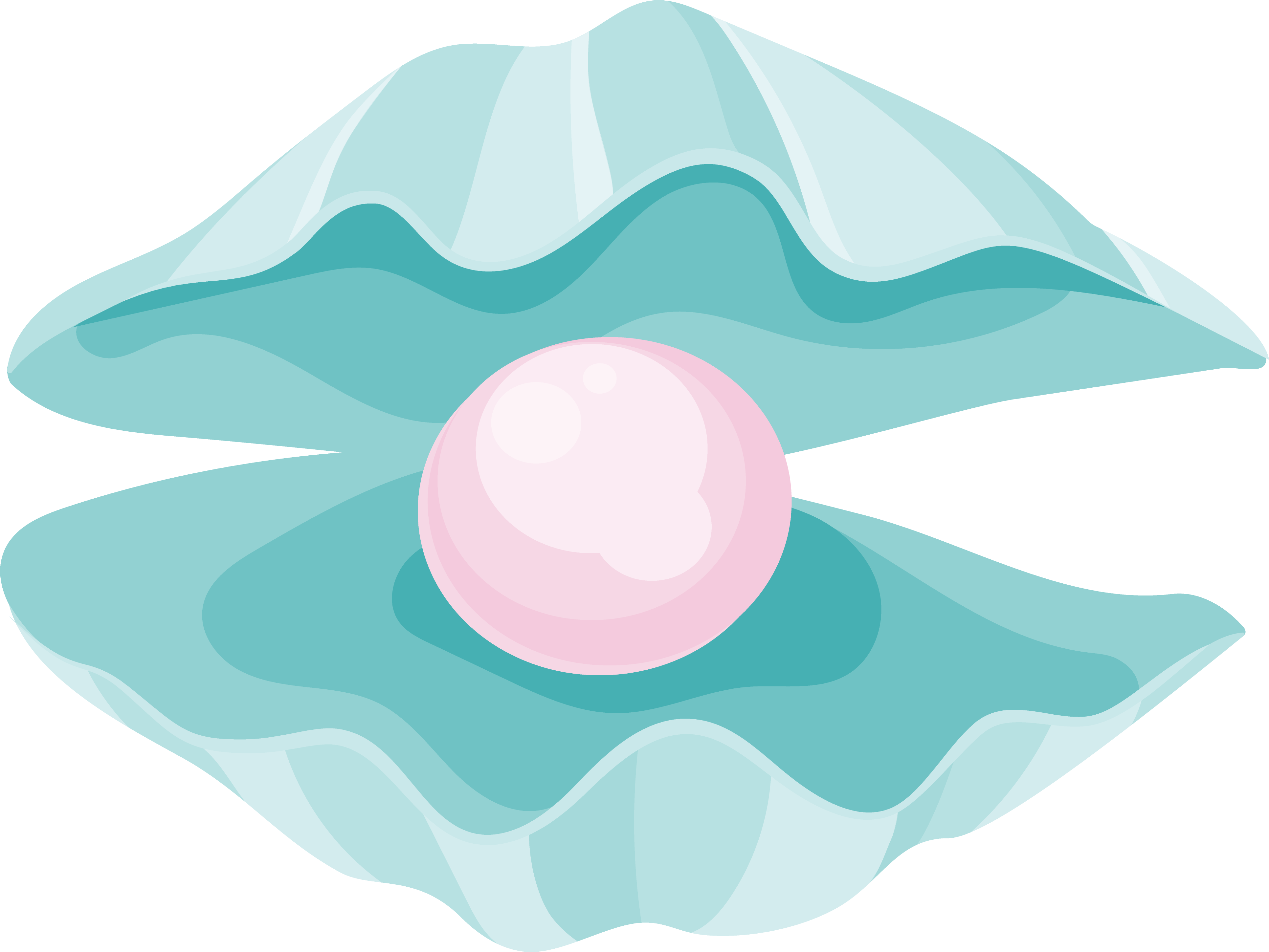 Green seashell with pink pearl