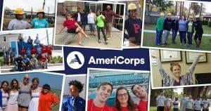 Collage of photos of AmeriCorps Members with AmeriCorps logo at center