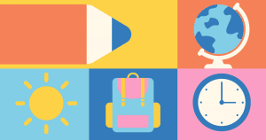 Illustrations of school supplies on colorful background