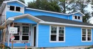 Partially Constructed Duplex with blue siding