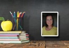 Photo of woman in frame over background of chalkboard with stack of books